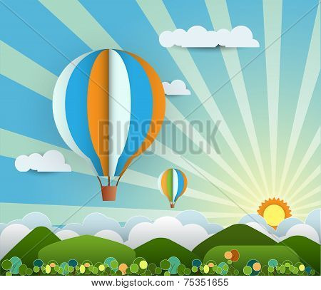 Abstract Paper With Sunshine- Rainbow-hill-cloud-balloon