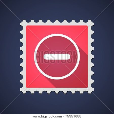 Mail Stamp With A Subtraction Sign