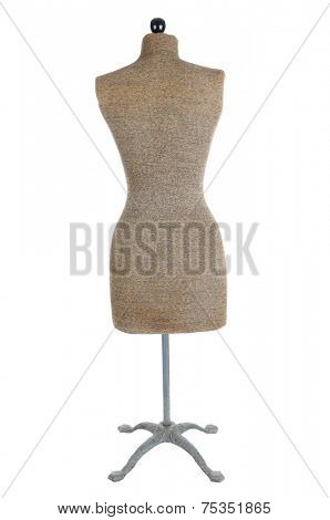 Back view of an antique dress form isolated on white.