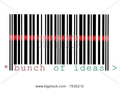 Scanning Bunch Of Ideas Barcode Macro Closeup Isolated On White