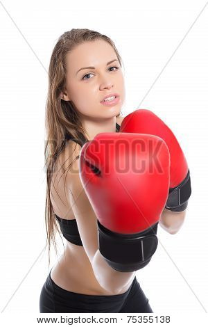 Young Blonde Demonstrating Boxing Gloves.