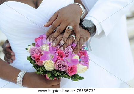 Black Couple, Hands And Flowers