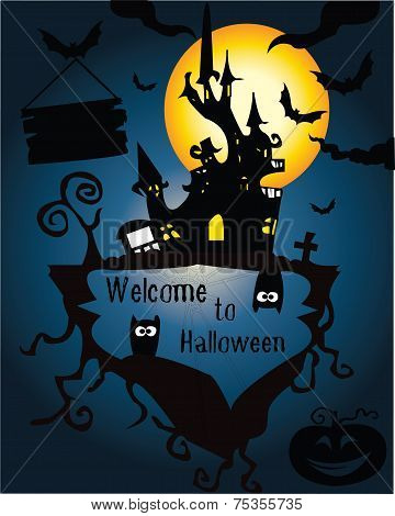 Halloween Party flyer with tree house