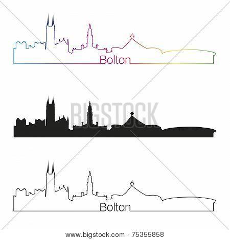 Bolton Skyline Linear Style With Rainbow