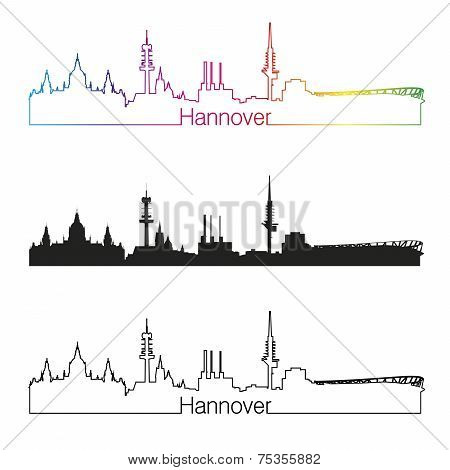 Hannover Skyline Linear Style With Rainbow
