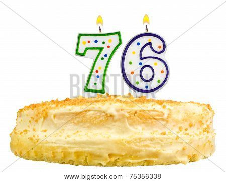 Birthday Cake Candles Number Seventy Six Isolated
