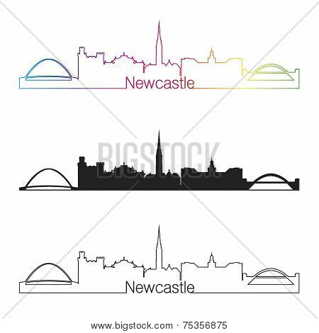 Newcastle Skyline Linear Style With Rainbow