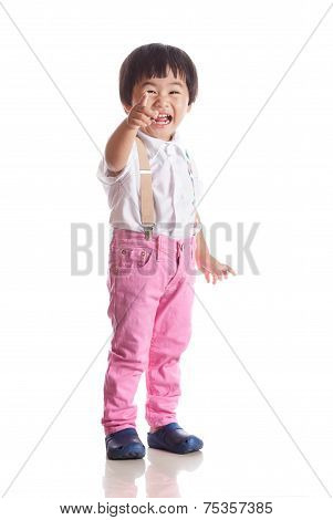 Face Of Asian Children Laughing With Happiness Emotion Isolated White With Studio Light
