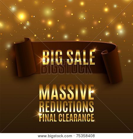 Big sale celebration background with realistic curved ribbon