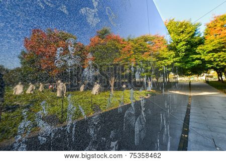 WASHINGTON DC - OCTOBER 19, 2014: Korean War Veterans Memorial located in National Mall in Washington DC. The Memorial commemorates those who served in the Korean War.