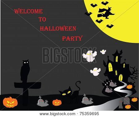 Halloween Party flyer with big moon
