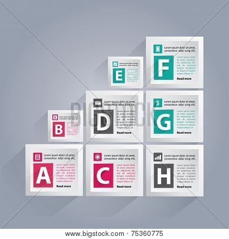 Infographic background with lettered white cubes, different icons and area for your text