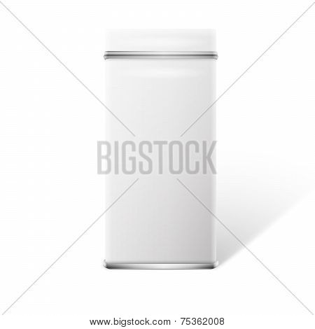White square tin packaging for tea/coffee