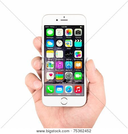 White Apple Iphone 6 Displaying Homescreen