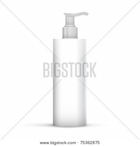 Plastic Clean White Bottle With Dispenser Pump