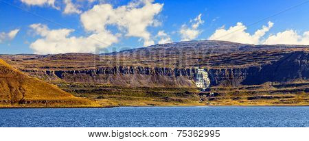 Panoramic overlook of waterfall Dynjandifoss in Westfjords, Iceland