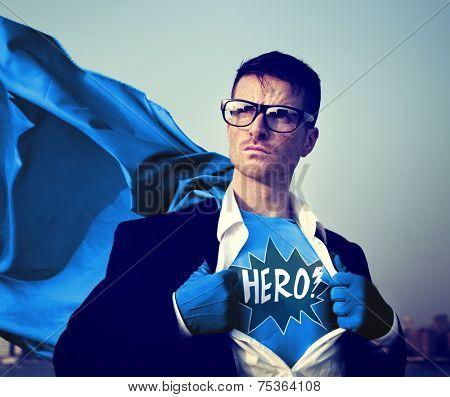 Superhero Businessman Hero Comic Explosion Concept
