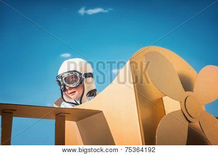 Little boy in an airplane
