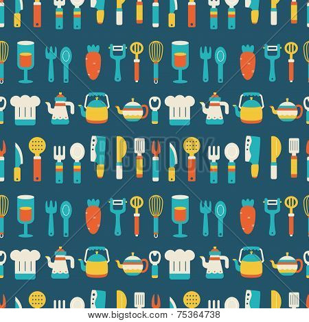 Seamless Pattern With Colorful Cooking Icons