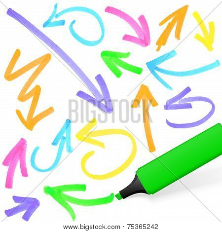 Colored Highlighter With Arrow Markings