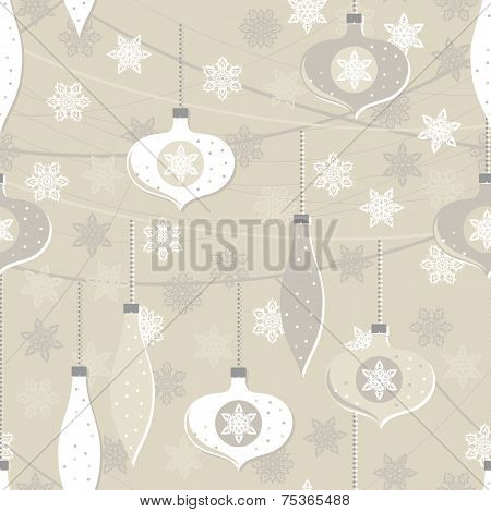 white beige glass balls and lace snowflakes seamless pattern