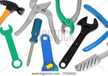 Set Of Plastic Toy Tools