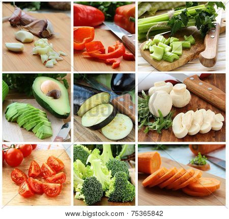 collage of different chopped vegetables (eggplant, cabbage, tomatoes, celery, mushrooms, avocado)