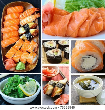 collage menu of Japanese cuisine - miso soup, sushi, sashimi, rolls, salad Chuka