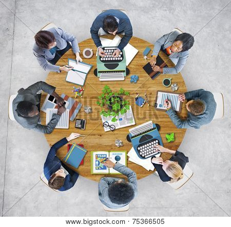 Group of Business People Meeting in Photo and Illustration