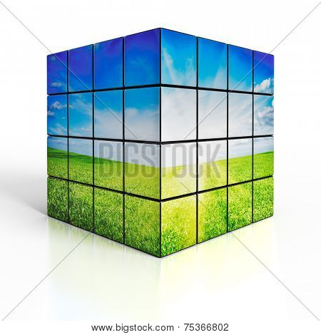 Ecology environmetal nature protection concept: cubes with beautiful landscape on white reflective background