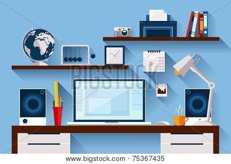 Flat Design Vector Illustration Of Modern Creative Office Workspace