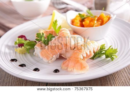 langoustine and vegetables