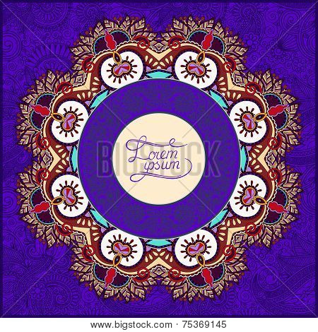 round violet colour ornamental frame
