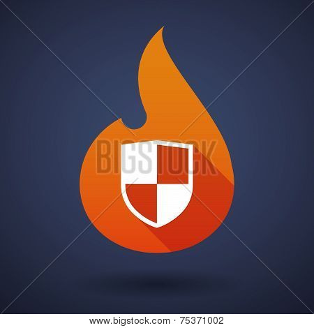 Flame Icon With A Shield