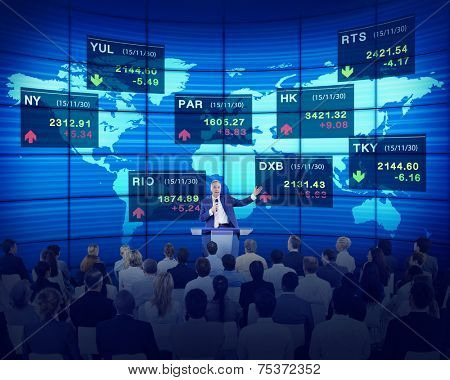 Business People Corporate Seminar Stock Exchange Finance Concept