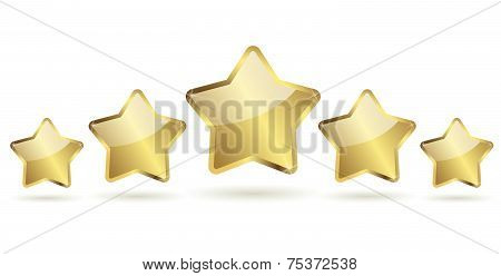 Vector Golden Stars With Shadow In A Row
