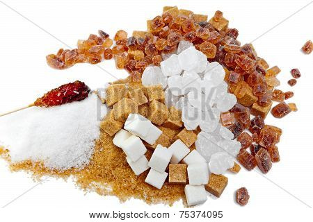 granulated sugar refined and brown reed.Still-life on a white background
