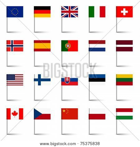 Country Flags - Pins Set 01