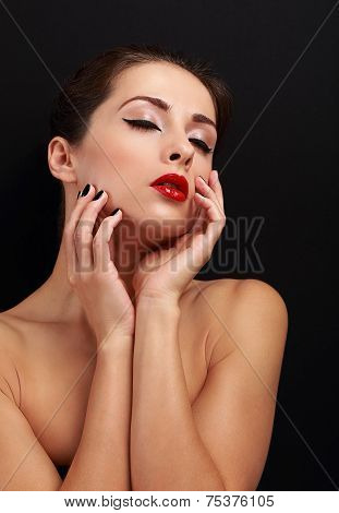 Beautiful Enjoying Makeup Woman Touching Her Health Face Skin