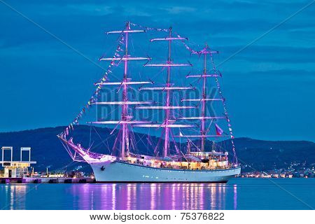 Old Wooden Illuminated Sailboat Night View