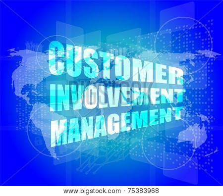 Customer Involvement Management Word On Business Digital Screen