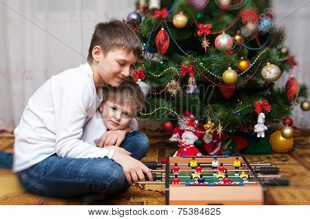 Happy Brothers. Christmas Photo