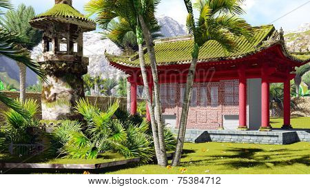 Buddhist shrine in the mountains with tropical vegetation