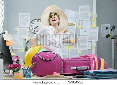 Cheerful Employee Leaving For Vacations