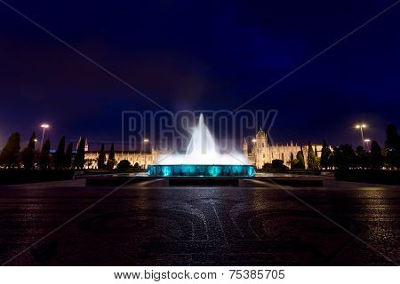 Monastery Of The Hieronymites And Fountain At Night