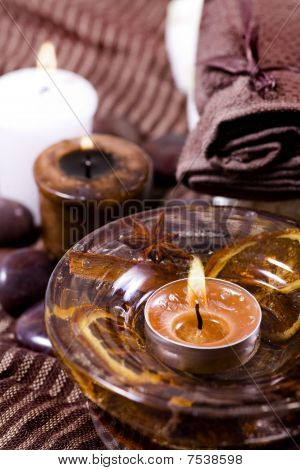 Spa Treatment - Relax With Candles And Tower