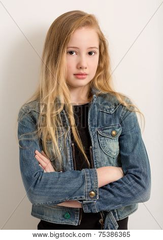 Pretty Young Girl In A Denim Jacket