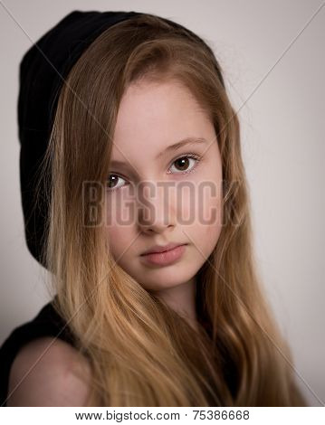 Girl With Long Blond Hair and a Hood