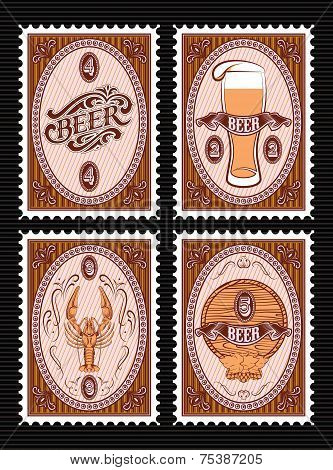 Set Of Vector Postage Stamps With Glass Of Beer, Keg, Lobster