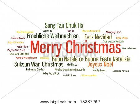 Merry christmas 2015 tree word tag cloud in many way